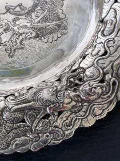 Chinese Export Silver Dragon Serving Tray - 1969020