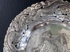 Chinese Export Silver Dragon Serving Tray - 1969021