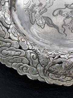 Chinese Export Silver Dragon Serving Tray - 1969022