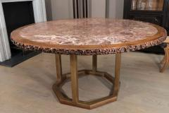 Chinese Hongmu Round Table with Inset Marble Top on Contemporary Base - 271978