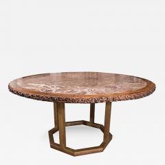 Chinese Hongmu Round Table with Inset Marble Top on Contemporary Base - 272856