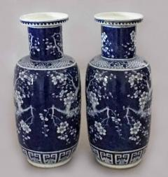 Chinese Pair Blue and White Porcelain Rouleau Vases - 1003074