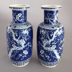 Chinese Pair Blue and White Porcelain Rouleau Vases - 1003075