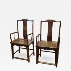 Chinese Qing period elm yoke back armchairs - 2090166