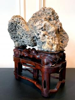 Chinese Scholar Rock Kun Stone on Display Stand - 1963659