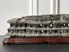 Chinese Scholar Rock Wuling Stone on Stand - 2114314
