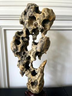 Chinese Scholar Rock Yellow Taihu Stone on Wood Stand - 1972428