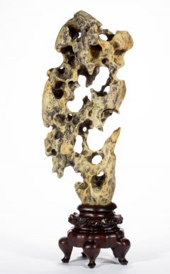 Chinese Scholar Rock Yellow Taihu Stone on Wood Stand - 1972444