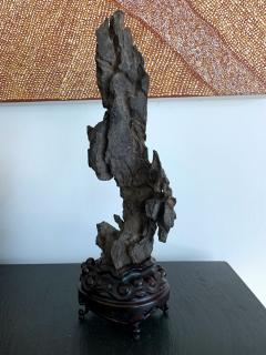 Chinese Scholar Rock Yingde Stone on Stand - 1136138