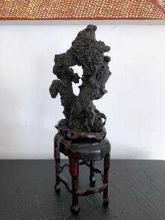Chinese Scholar Rock in Metal Form on Display Stand - 1136124