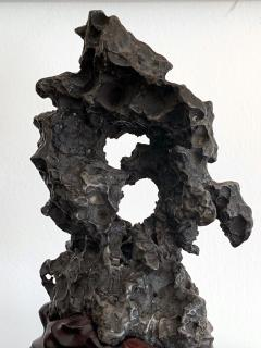 Chinese Scholar Rock in Metal Form on Display Stand - 1136127