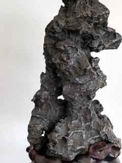 Chinese Scholar Rock in Metal Form on Display Stand - 1136130