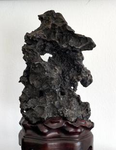 Chinese Scholar Rock in Metal Form on Display Stand - 1136131
