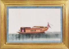 Chinese School Chinese Export Watercolours on Pith Paper set of twelve Junks and Barges - 1069895