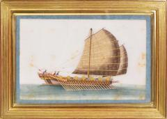 Chinese School Chinese Export Watercolours on Pith Paper set of twelve Junks and Barges - 1069896