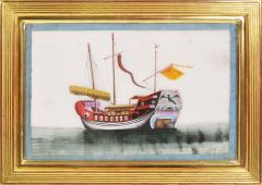 Chinese School Chinese Export Watercolours on Pith Paper set of twelve Junks and Barges - 1069897