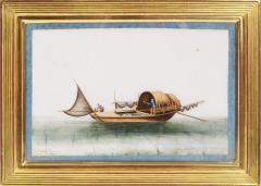 Chinese School Chinese Export Watercolours on Pith Paper set of twelve Junks and Barges - 1069898