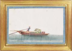 Chinese School Chinese Export Watercolours on Pith Paper set of twelve Junks and Barges - 1069899