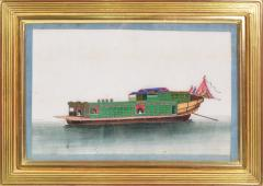 Chinese School Chinese Export Watercolours on Pith Paper set of twelve Junks and Barges - 1069900