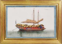 Chinese School Chinese Export Watercolours on Pith Paper set of twelve Junks and Barges - 1069901