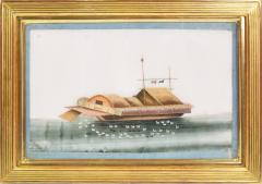 Chinese School Chinese Export Watercolours on Pith Paper set of twelve Junks and Barges - 1069902