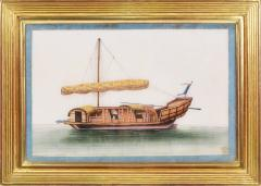 Chinese School Chinese Export Watercolours on Pith Paper set of twelve Junks and Barges - 1069903
