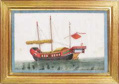 Chinese School Chinese Export Watercolours on Pith Paper set of twelve Junks and Barges - 1069904