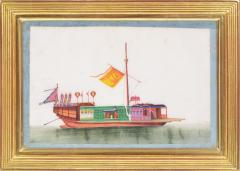 Chinese School Chinese Export Watercolours on Pith Paper set of twelve Junks and Barges - 1069905