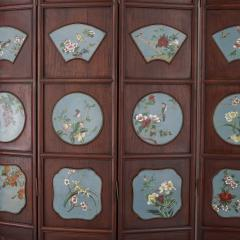 Chinese folding screen mounted with cloisonn enamel panels - 1569833