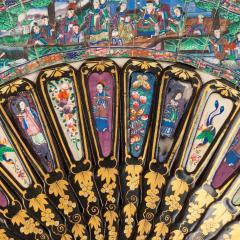 Chinese telescopic fan of gilt decorated black lacquer stays - 1726534