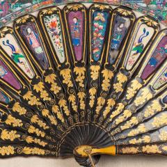Chinese telescopic fan of gilt decorated black lacquer stays - 1726535