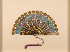Chinese telescopic fan of gilt decorated black lacquer stays - 1727329