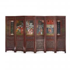 Chinese wooden screen with reverse glass painted panels - 1683162