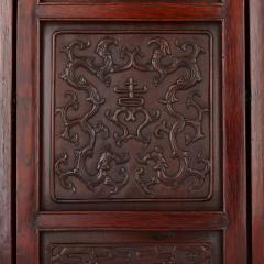 Chinese wooden screen with reverse glass painted panels - 1683166