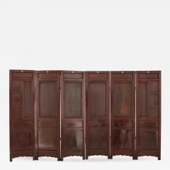 Chinese wooden screen with reverse glass painted panels - 1685096