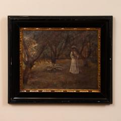 Christian Claussen Original Antique Oil Painting of Victorian Woman Playing Croquet - 1072328