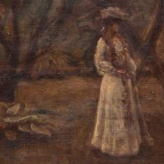 Christian Claussen Original Antique Oil Painting of Victorian Woman Playing Croquet - 1072331