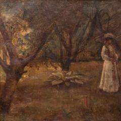 Christian Claussen Original Antique Oil Painting of Victorian Woman Playing Croquet - 1072332