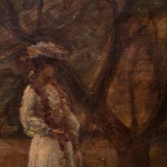 Christian Claussen Original Antique Oil Painting of Victorian Woman Playing Croquet - 1072334