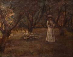 Christian Claussen Original Antique Oil Painting of Victorian Woman Playing Croquet - 1072980