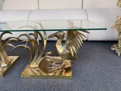 Christian Techoueyres Bronze Pelican and Reed Coffee Table by Christian Techoueyres France 1970s - 2063210
