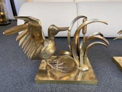 Christian Techoueyres Bronze Pelican and Reed Coffee Table by Christian Techoueyres France 1970s - 2063214