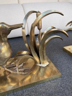 Christian Techoueyres Bronze Pelican and Reed Coffee Table by Christian Techoueyres France 1970s - 2063215