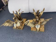 Christian Techoueyres Bronze Pelican and Reed Coffee Table by Christian Techoueyres France 1970s - 2063217