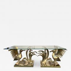 Christian Techoueyres Bronze Pelican and Reed Coffee Table by Christian Techoueyres France 1970s - 2065013