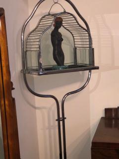 Chrome Art Deco Bird Cage on Stand - 1387218