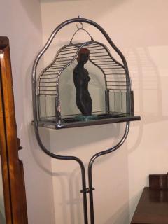 Chrome Art Deco Bird Cage on Stand - 1387220