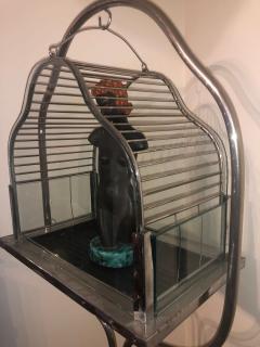 Chrome Art Deco Bird Cage on Stand - 1387222