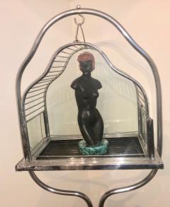 Chrome Art Deco Bird Cage on Stand - 1387224