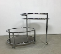 Chrome and Smoked Glass Rolling Dry Bar - 219273